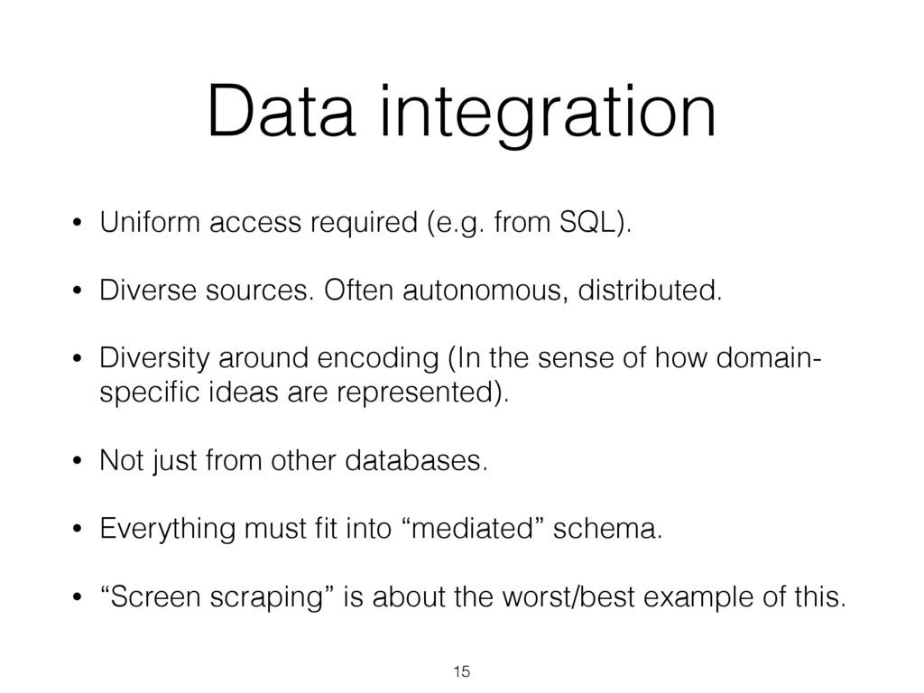 Data integration • Uniform access required (e.g...
