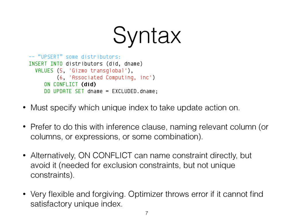 "Syntax -- ""UPSERT"" some distributors: INSERT IN..."