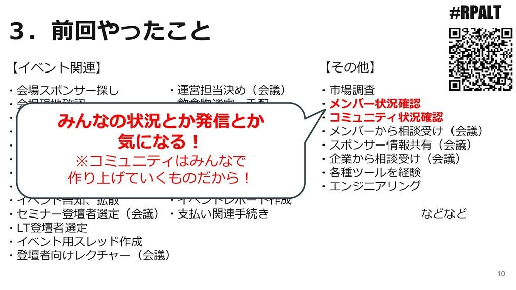 10 #RPALT ・会場スポンサー探し ・会場現地確認 ・懇親会スポンサー探し ・スポンサー...