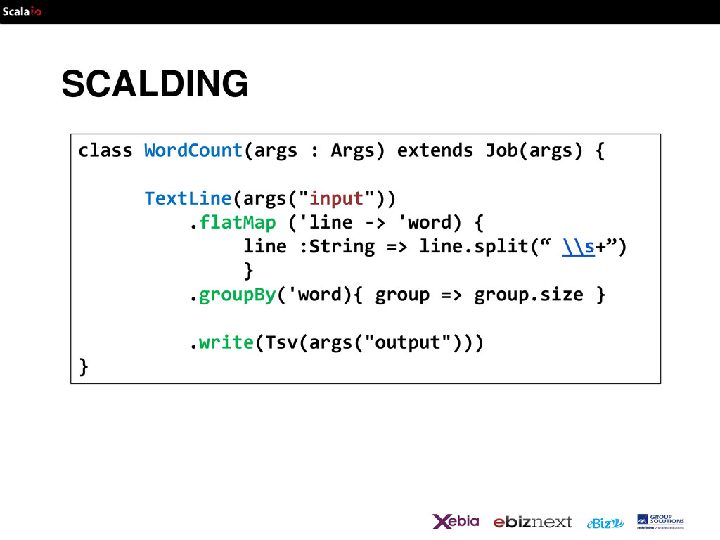 SCALDING class WordCount(args : Args) extends J...