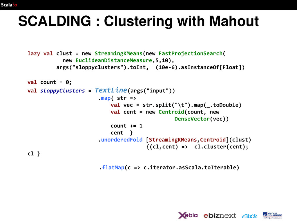 SCALDING : Clustering with Mahout lazy val clus...