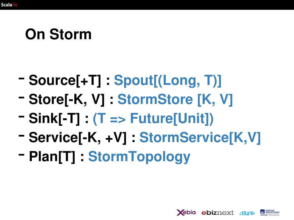 On Storm -Source[+T] : Spout[(Long, T)] -Store[...