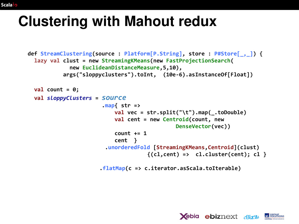 Clustering with Mahout redux def StreamClusteri...