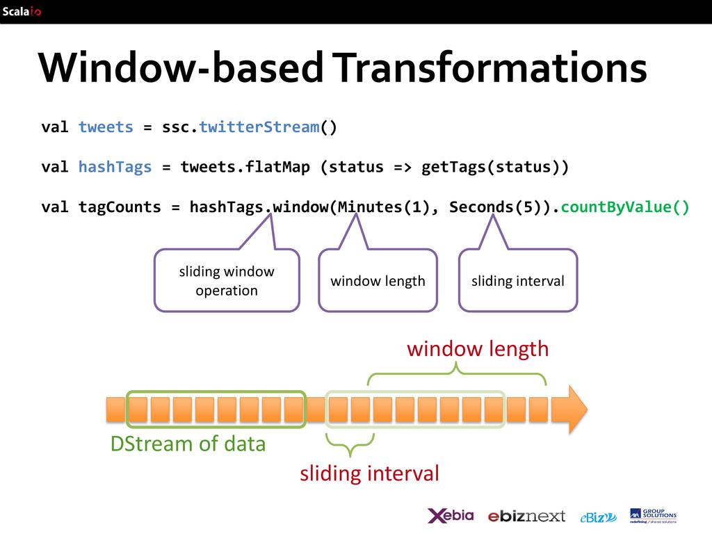 DStream of data Window-based Transformations va...