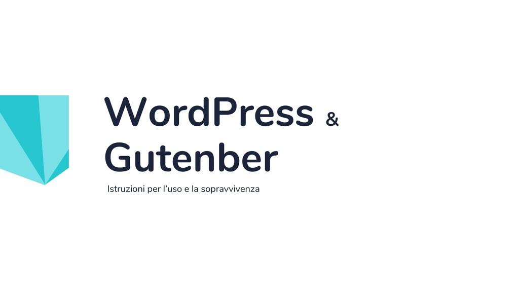 Istruzioni per l'uso e la sopravvivenza WordPre...