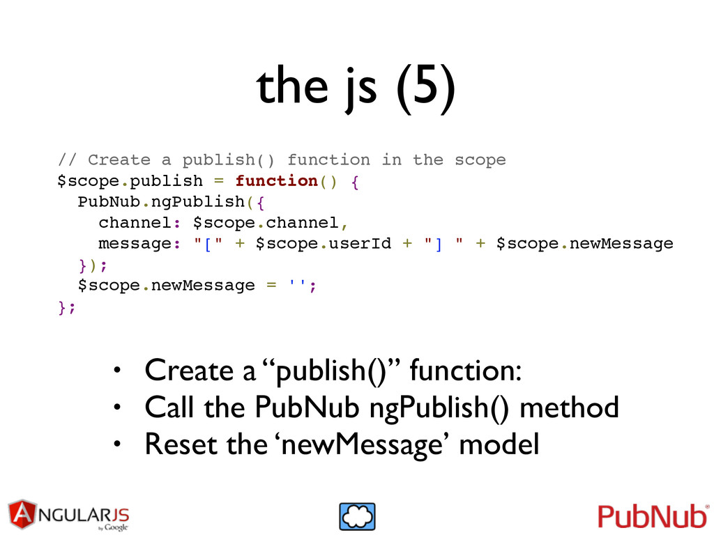 the js (5) // Create a publish() function in th...