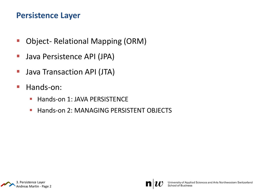 Andreas Martin - Page 2 Persistence Layer  Obj...