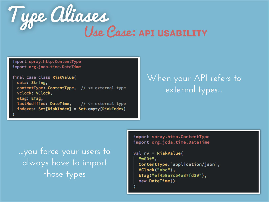 Type Aliases When your API refers to external t...
