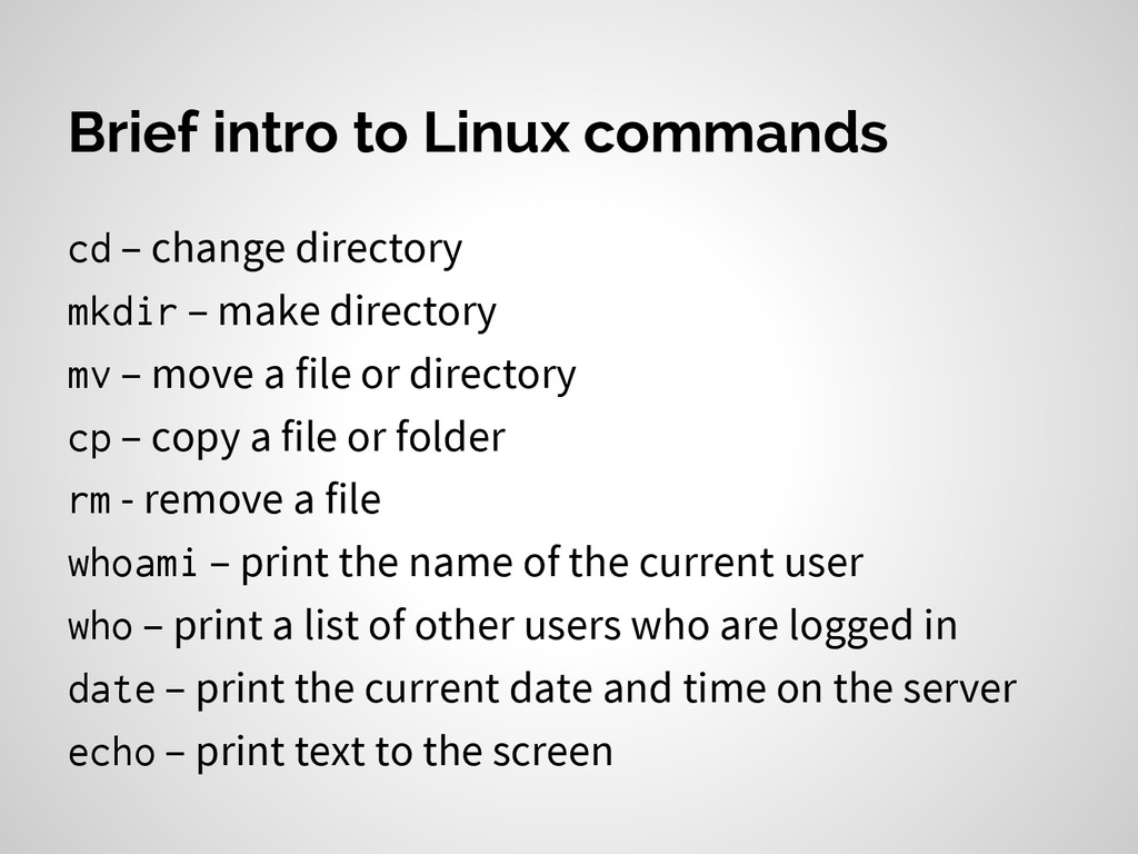 Brief intro to Linux commands cd – change direc...