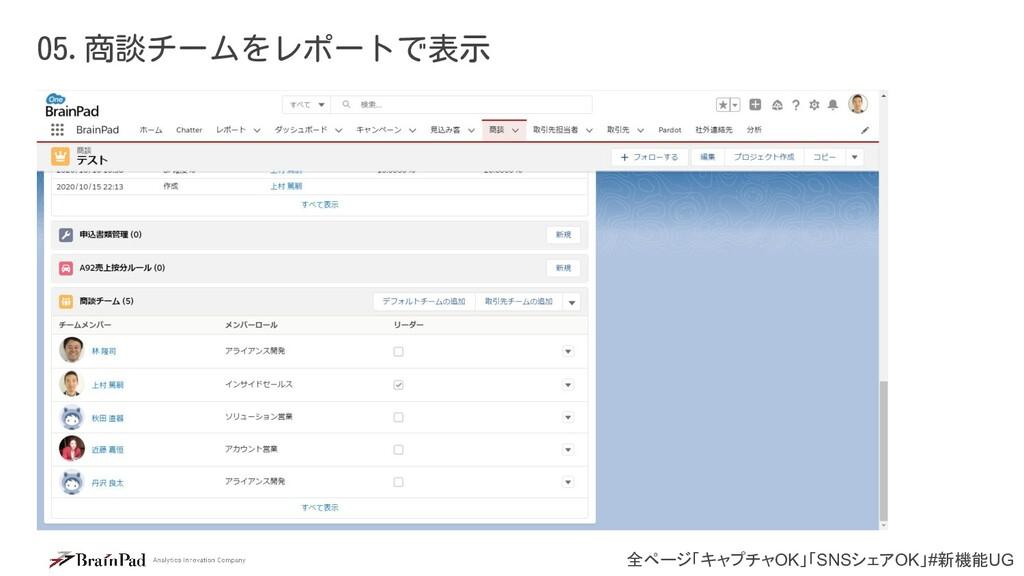 全ページ「キャプチャOK」「SNSシェアOK」#新機能UG 05.商談チームをレポートで表示