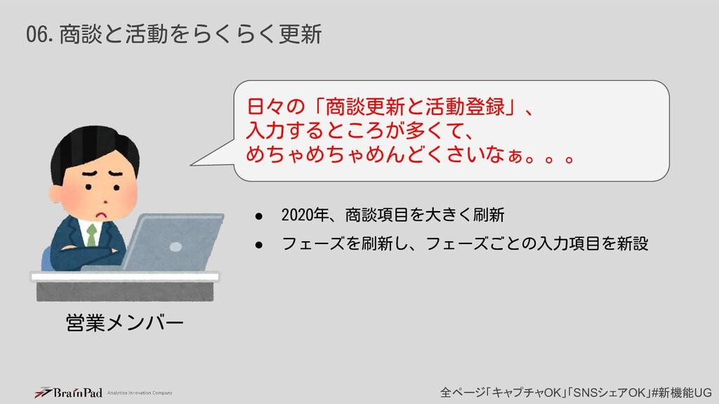 全ページ「キャプチャOK」「SNSシェアOK」#新機能UG 06.商談と活動をらくらく更新 日...