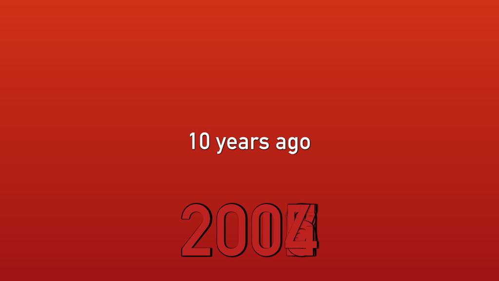 10 years ago 2014 2013 2012 2011 2010 2009 2008...