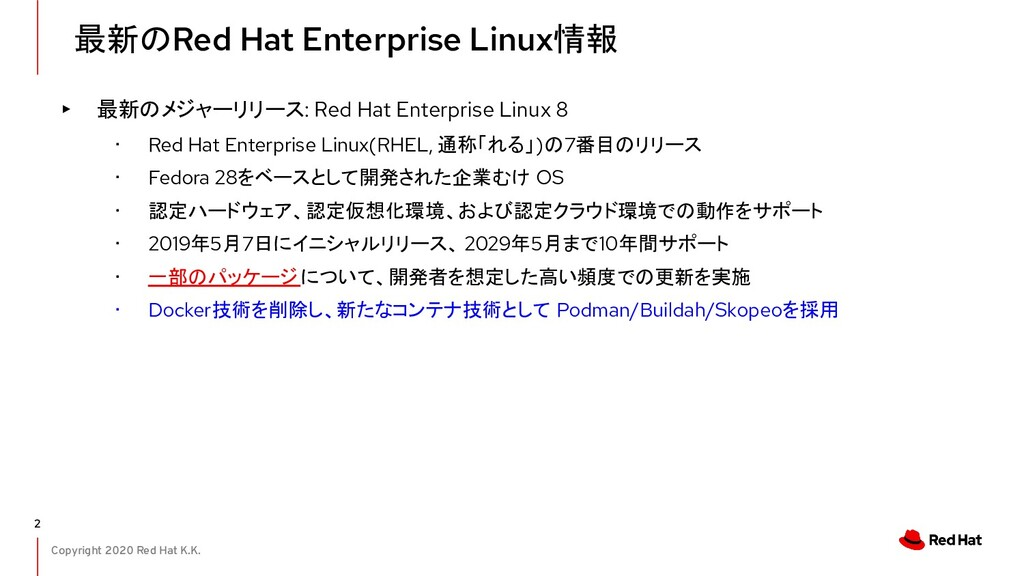 Copyright 2020 Red Hat K.K. 最新のRed Hat Enterpri...