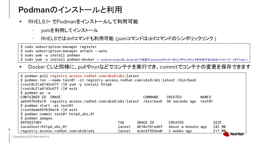 Copyright 2020 Red Hat K.K. Podmanのインストールと利用 7 ...