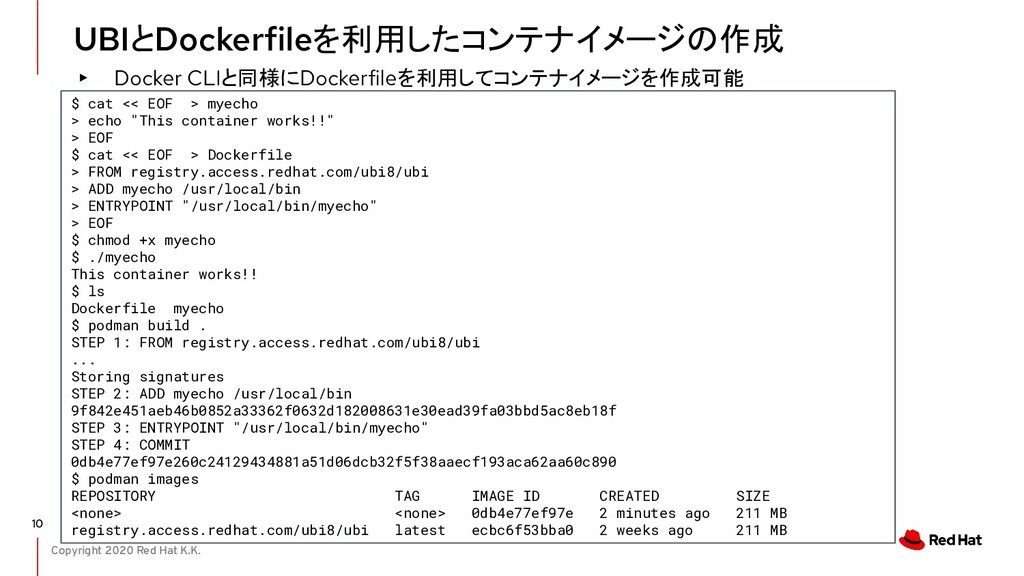 Copyright 2020 Red Hat K.K. UBIとDockerfileを利用した...