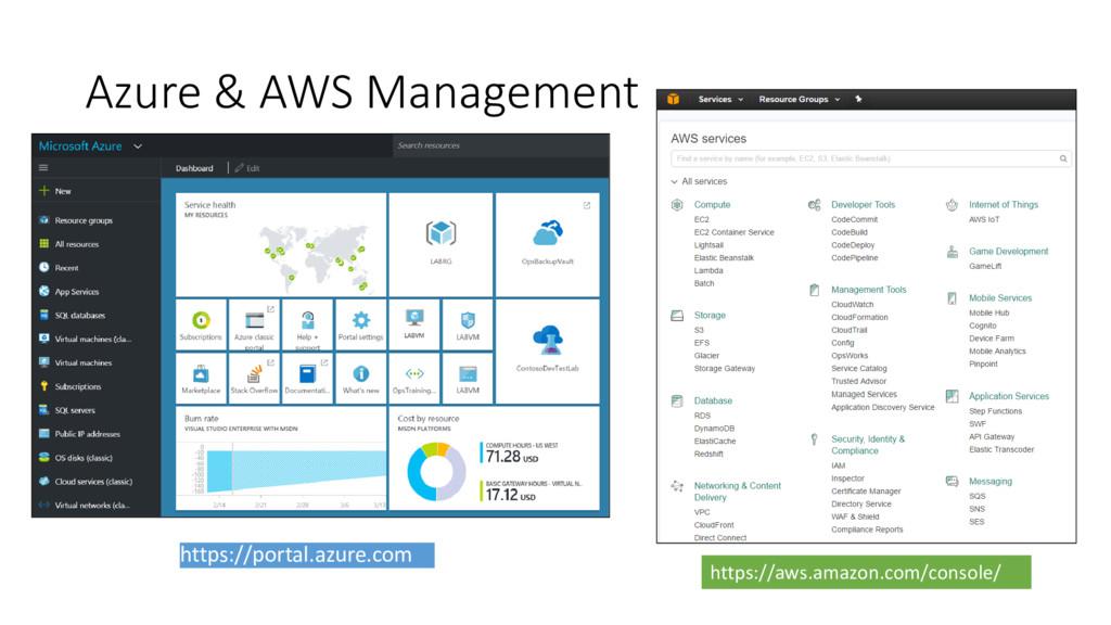 Azure & AWS Management https://portal.azure.com...