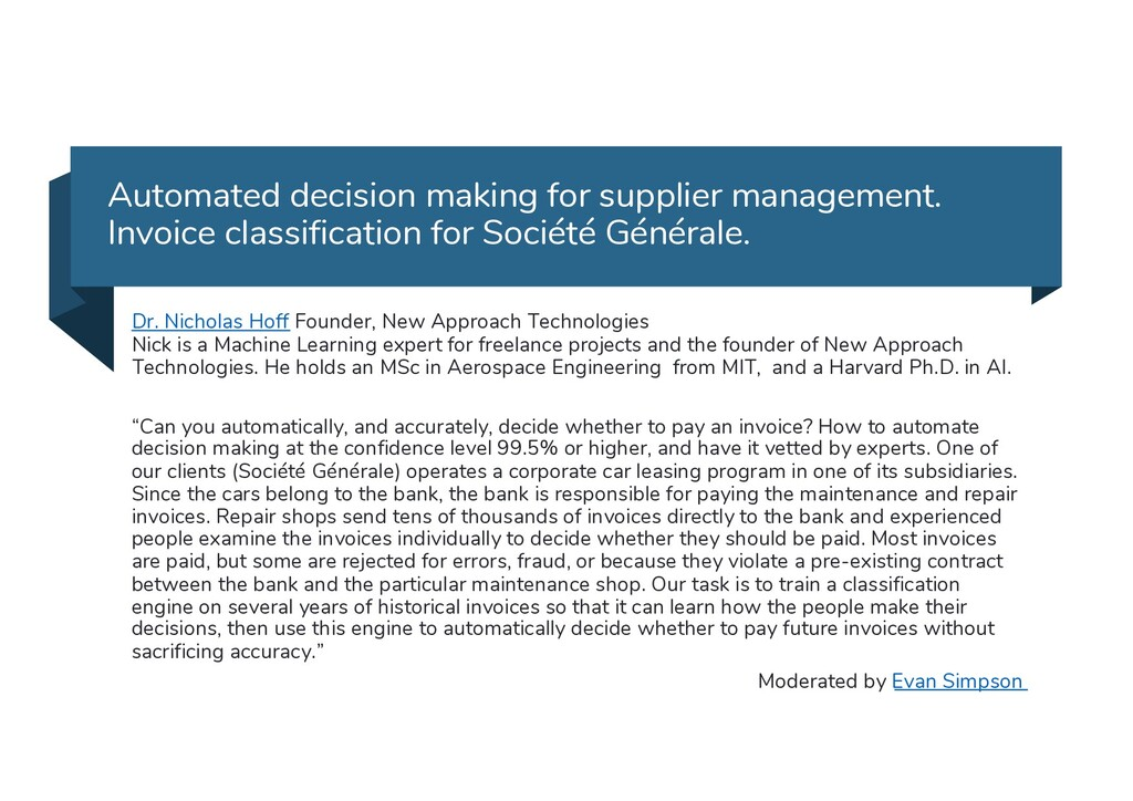 Automated decision making for supplier manageme...