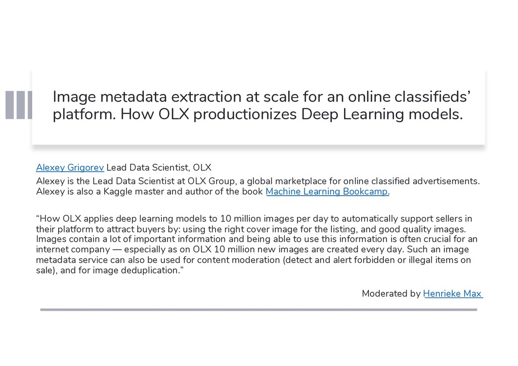 Image metadata extraction at scale for an onlin...