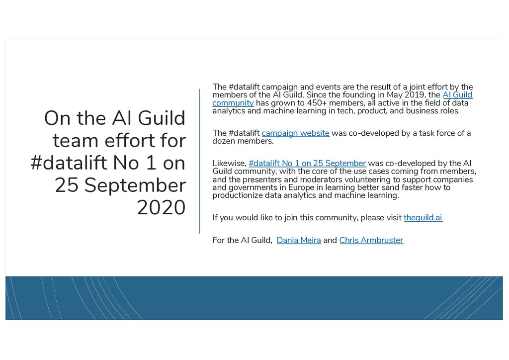 On the AI Guild team effort for #datalift No 1 ...