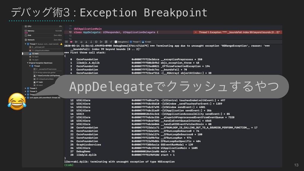 13 σόοάज़Exception Breakpoint AppDelegateͰΫϥ...