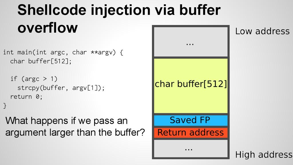 Shellcode injection via buffer overflow What ha...