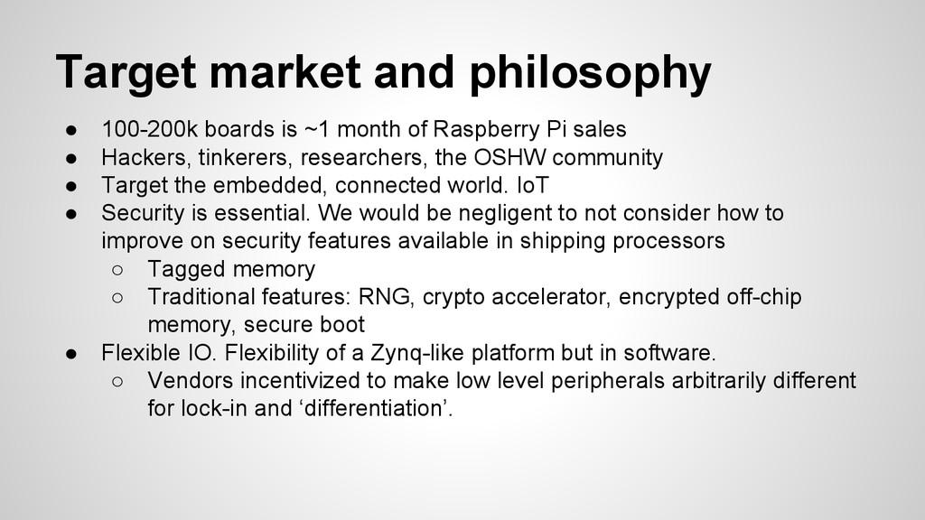 Target market and philosophy ● 100-200k boards ...