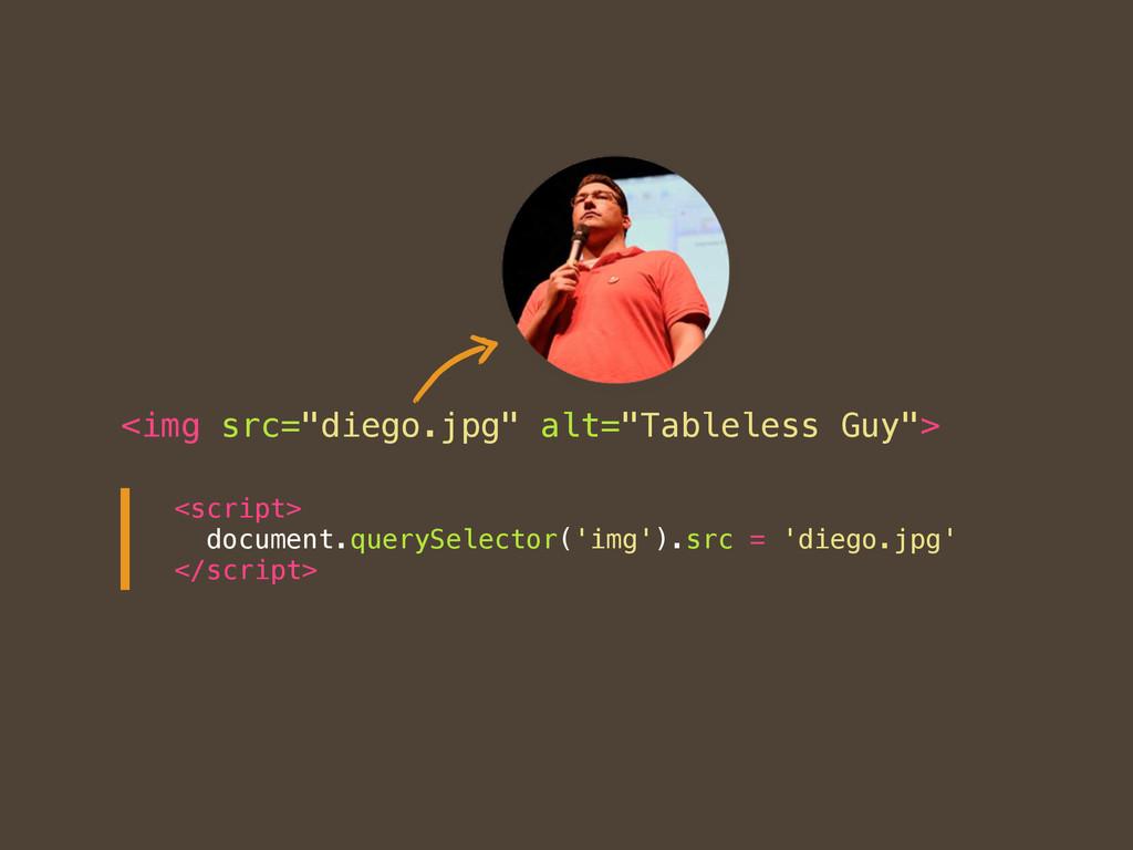 "<img src=""diego.jpg"" alt=""Tableless Guy""> <scri..."