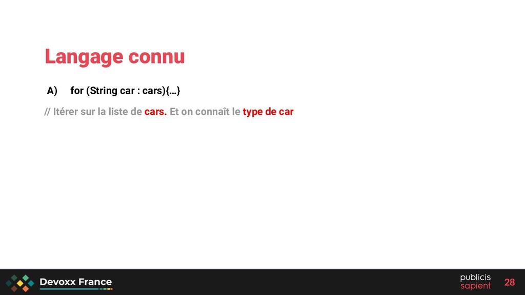28 A) for (String car : cars){…} // Itérer sur ...