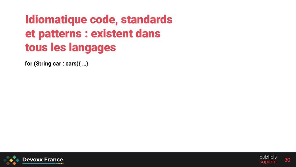 30 for (String car : cars){ …} Idiomatique code...