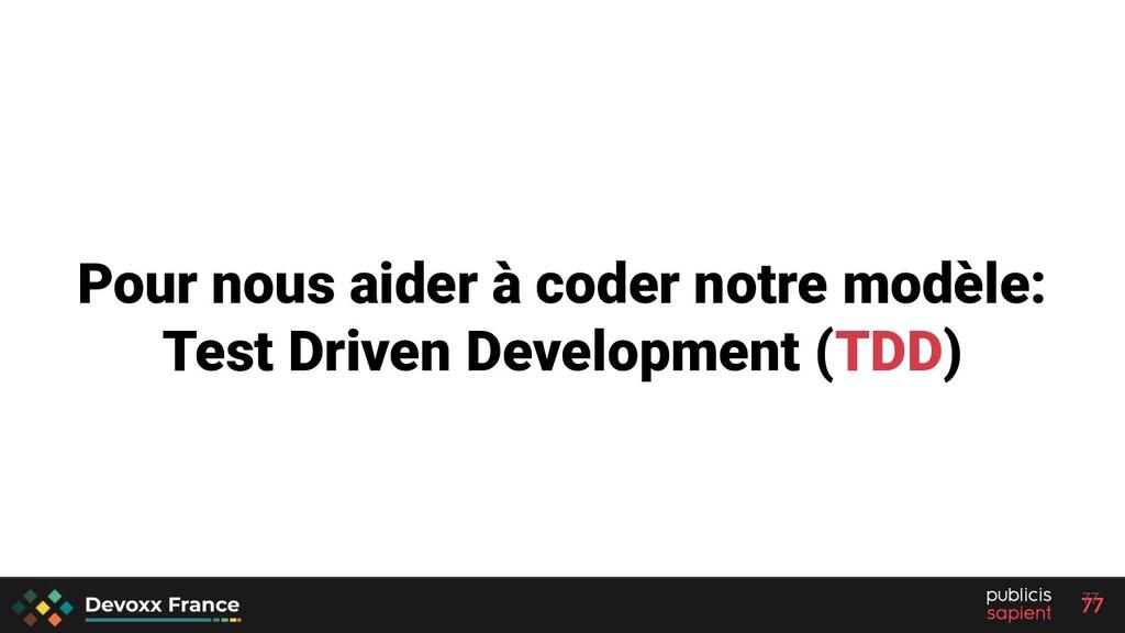 77 Pour nous aider à coder notre modèle: Test D...