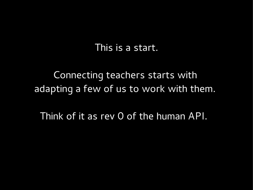This is a start. Connecting teachers starts wit...