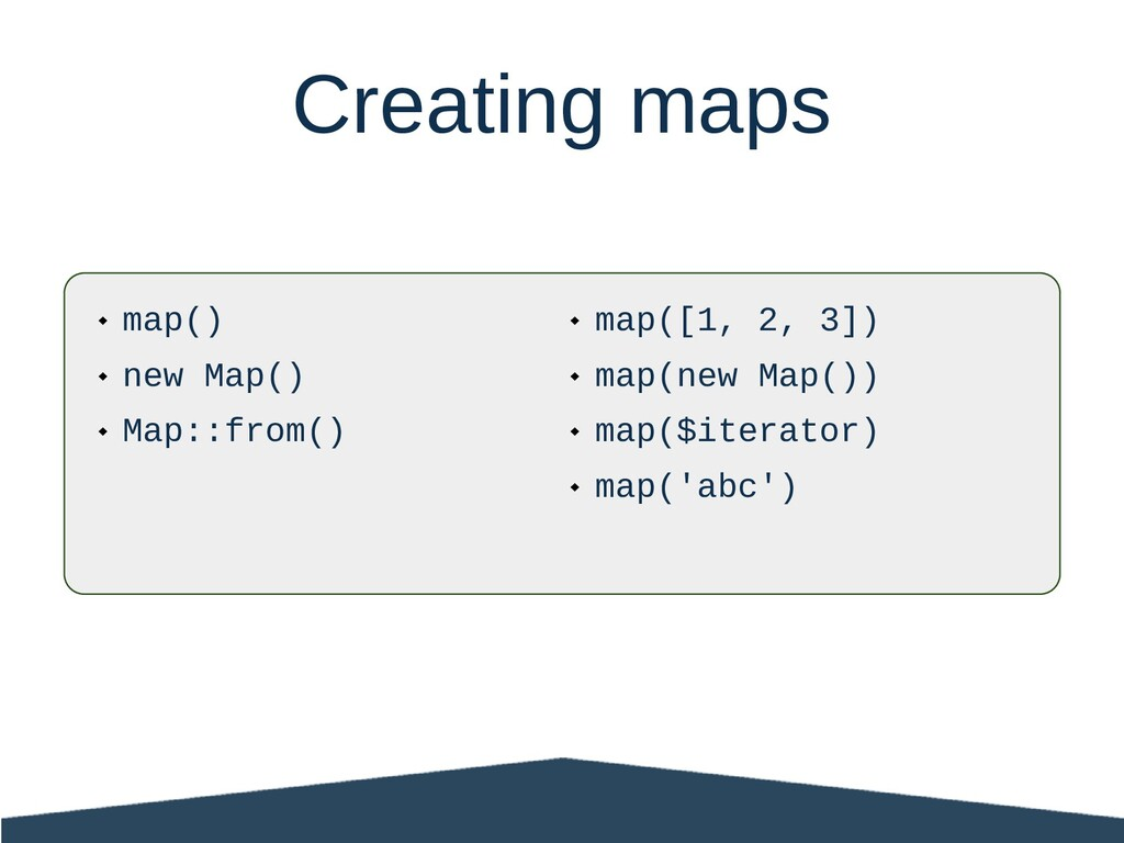  map()  new Map()  Map::from() Creating maps...
