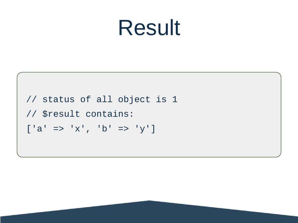 // status of all object is 1 // $result contain...