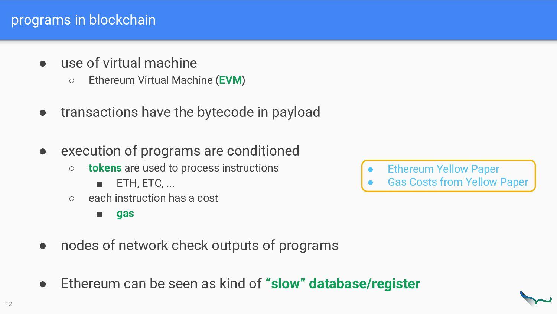 programs in blockchain 12 ● Ethereum Yellow Pap...