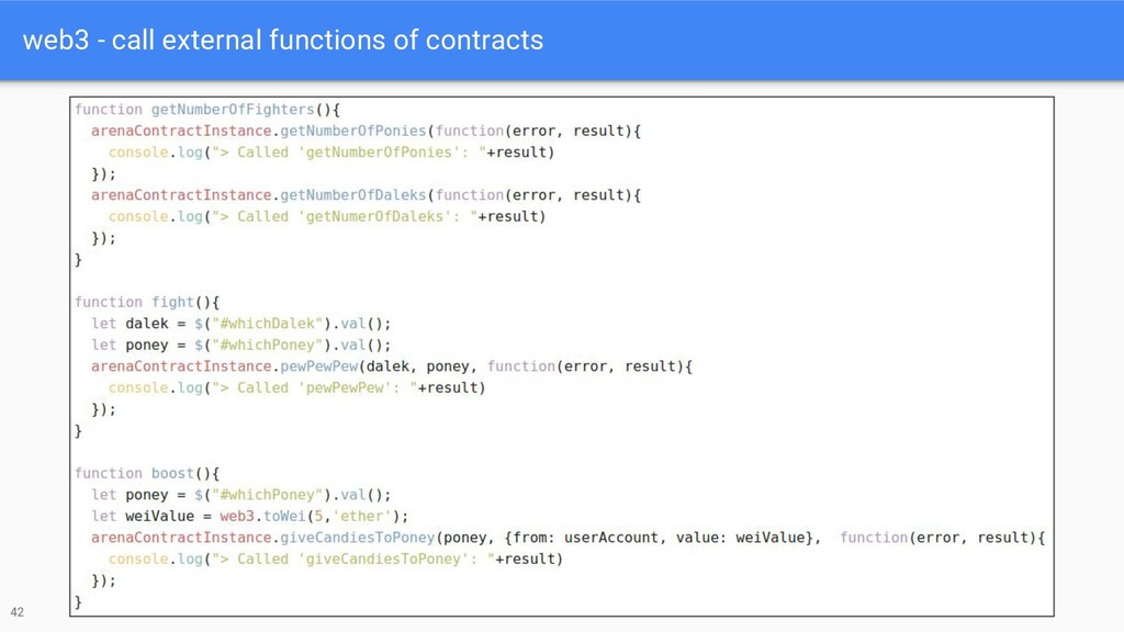 web3 - call external functions of contracts 42