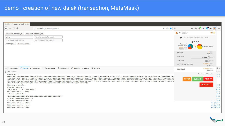 demo - creation of new dalek (transaction, Meta...