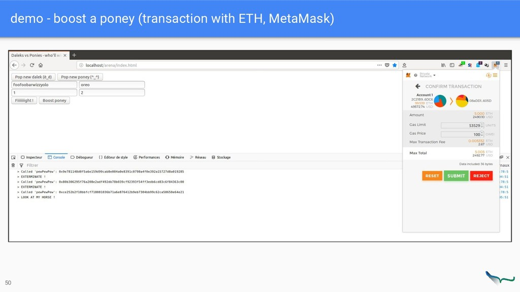 demo - boost a poney (transaction with ETH, Met...