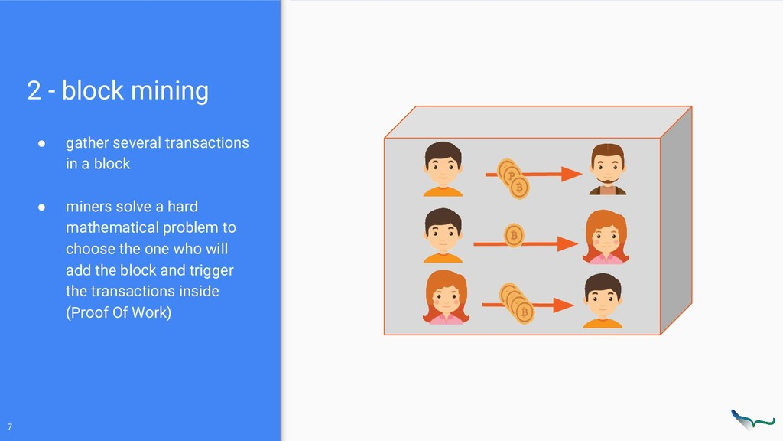 2 - block mining ● gather several transactions ...