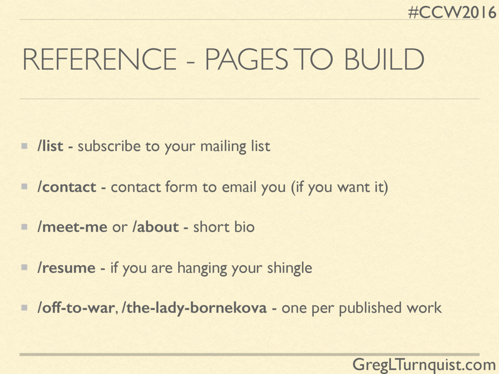 #CCW2016 GregLTurnquist.com REFERENCE - PAGES T...