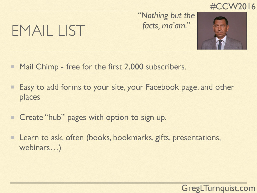 #CCW2016 GregLTurnquist.com EMAIL LIST Mail Chi...