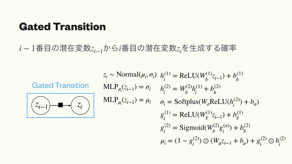 Gated Transition MLPσi (zi−1 ) = σi zi ∼ Normal...