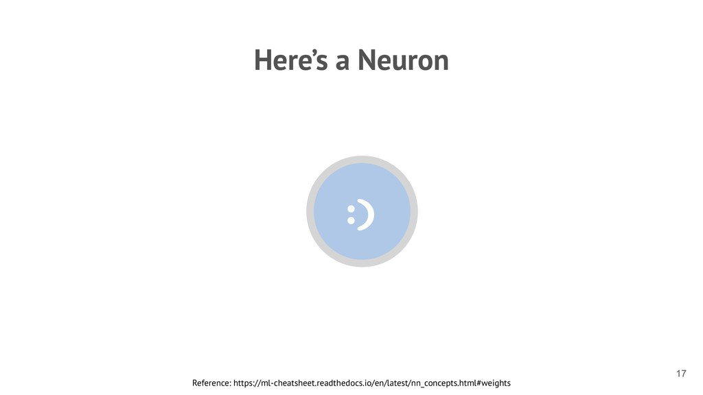 Here's a Neuron Reference: https://ml-cheatshee...