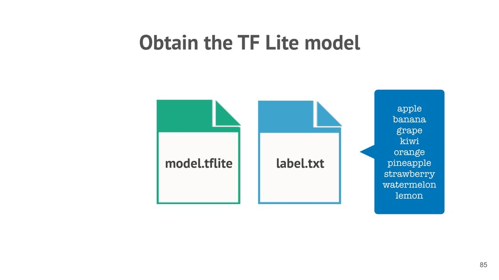 Obtain the TF Lite model !85 model.tflite label...