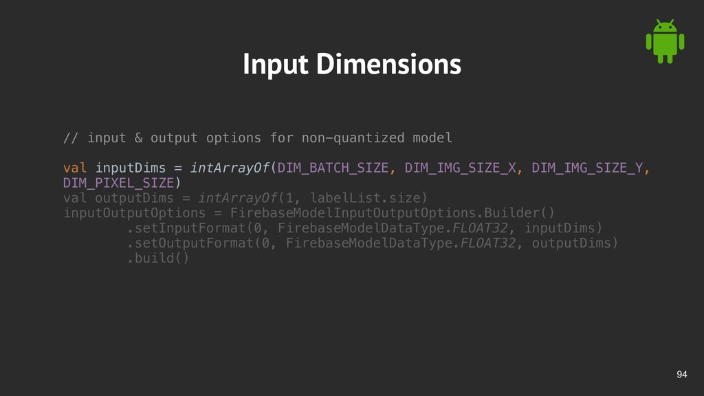 !94 Input Dimensions // input & output options ...