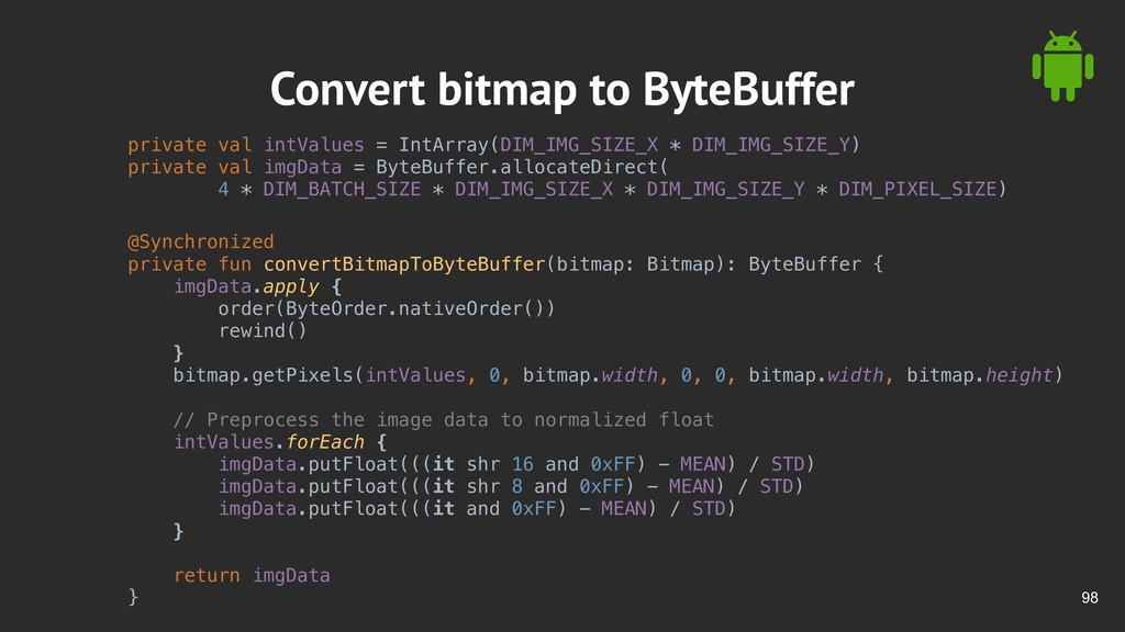 !98 Convert bitmap to ByteBuffer private val in...