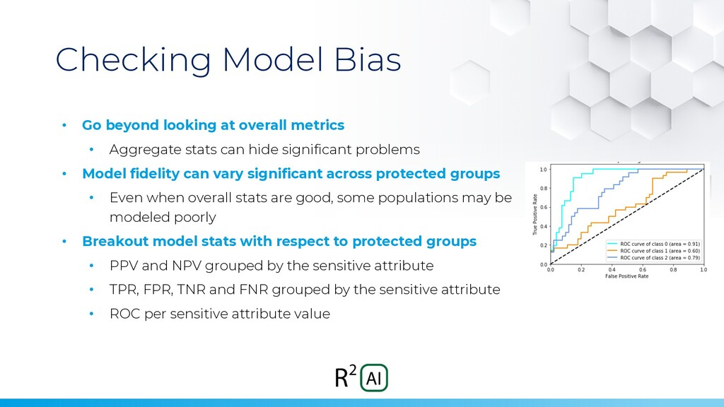 Checking Model Bias • Go beyond looking at over...