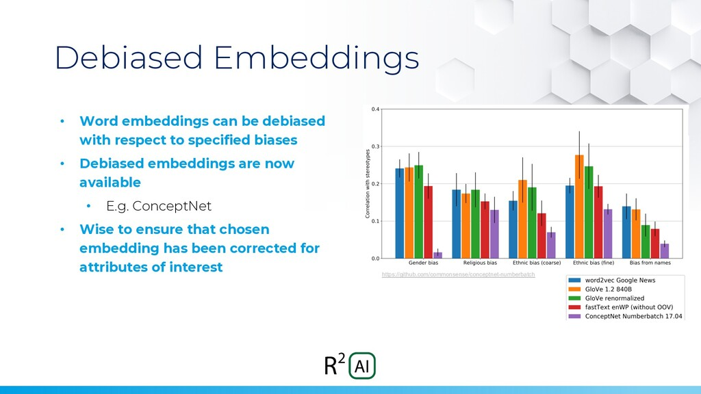 Debiased Embeddings • Word embeddings can be de...