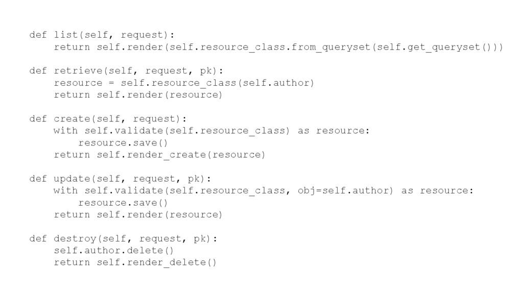 def list(self, request): return self.render(sel...