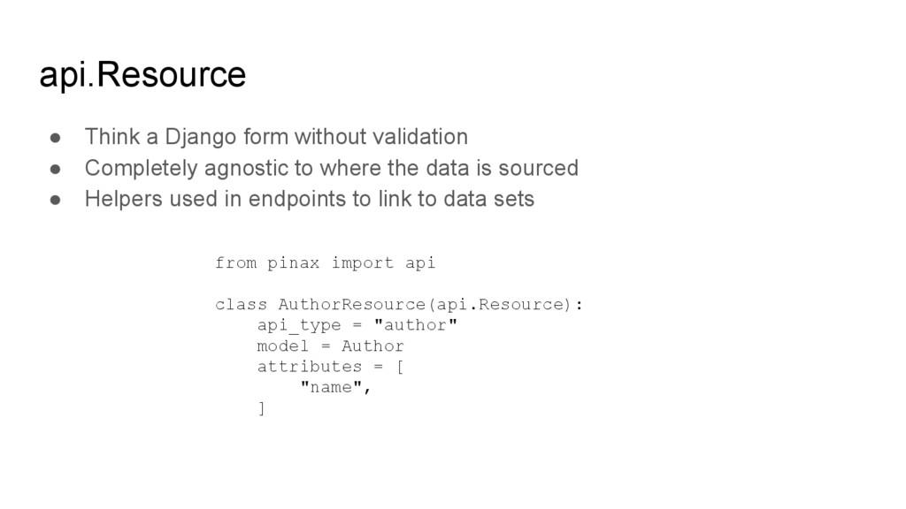 api.Resource ● Think a Django form without vali...