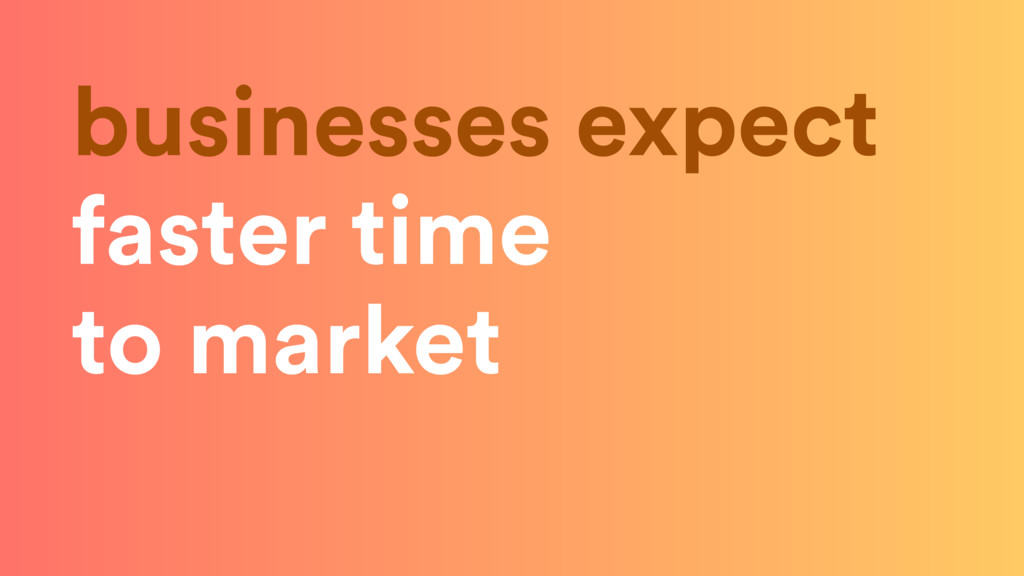 businesses expect faster time to market